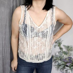 ALLSAINTS Lara lace tank top ivory sheer 0103